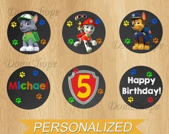 PAW Patrol Cupcake Toppers , PAW Patrol Birthday Circles, Personalized, Digital File