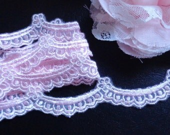 3/4 inch wide pink mesh embroidery lace trim selling by the yard