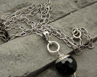 Sterling silver, onyx - long necklace