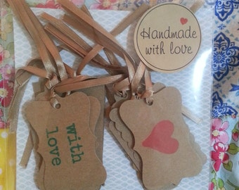 Hand stamped gift tags set of 12.