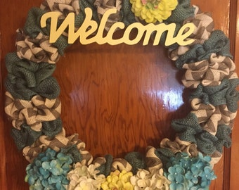 Spring Burlap Welcome Wreath