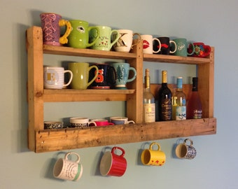 Coffee Mug Holder/Coffee Mug Shelf/Custom Made Coffee Holder/Coffee Station/Wood Shelf
