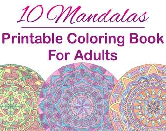 10 Mandalas | Adult Coloring Book | Printable | Instant Download