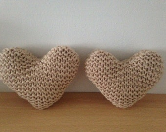 Set of 2 Hand Knitted Natural Heart-Shaped Decorative Cushions