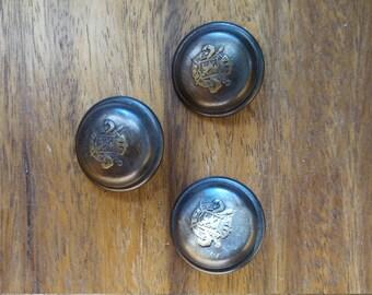 2 Metal Shank Royal Bronze Crest Buttons