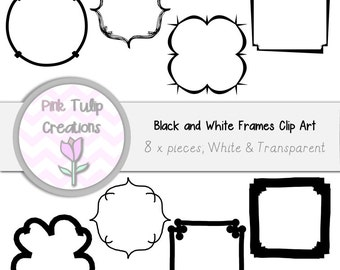 8 x Clip Art Frames - White and Transparent Borders