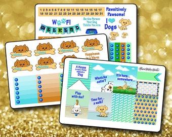 Cute Puppy Dog Weekly Sticker Kit EC - Vertical Planner Stickers Erin Condren Life Planner Cute Stickers Kawaii Stickers ECLP Stickers