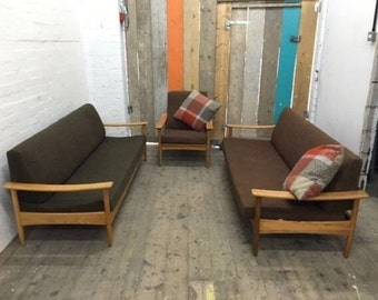 2 Guy Rogers, Mid Century sofa beds and 1 Chair. Teak, Danish.Eames, 1960's