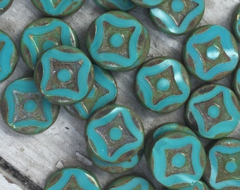 Czech Picasso Turquoise Coin Bead