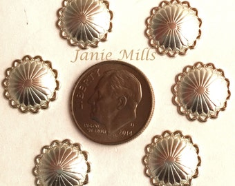 Sterling Concho 13 mm round stamped pkg of 2