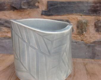 Handmade Blue textured ceeamic mug