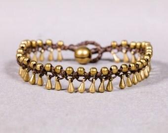 Beaded bracelet- Brown and Gold Drops Bracelet B79