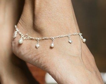 Silver Anklet, Silver Hearts And Bells Anklet, Sterling Silver Anklet, Silver Anklet Chain, (AS42)