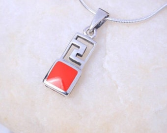 Silver and coral colored pendant, Sterling Silver chain, Silver pendant,  silver necklace, 925 silver, Boho jewelry (P 4/2)
