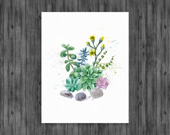 "SAVE 40% when you order 2 or more prints. Use code ""SAVE40"" Succulent wall art, Succulent wall print, cactus print, succulent watercolor"