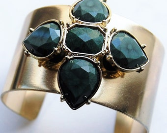 Vintage Gold Cuff with Decorative Emerald Costume Gems