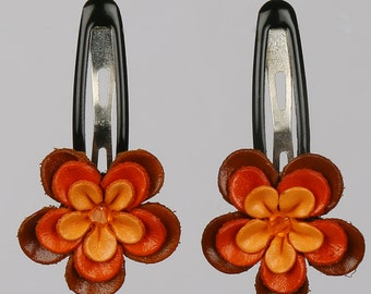Orange Leather Flower HairPins Pair, Leather Flower, Hair Pins, Toddler Hair Pins, Hair Clips, Leather Hair Clips, Flower Hair Clip