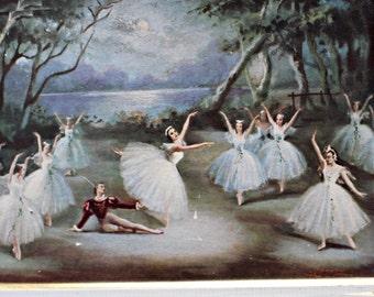 Vintage 1950's Pair of Framed Ballet Prints