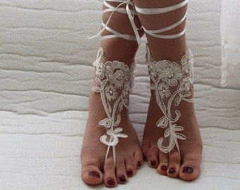 barefoot sandals,Beaded ivory lace shoes,bridal sandals, wedding sandals, free shipping!summer shoes, bridal accessories