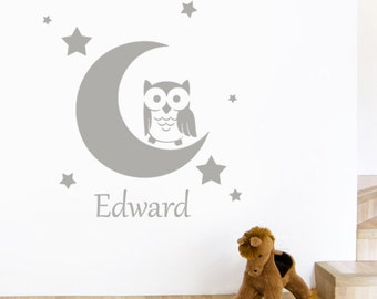 Personalised Child's Name Owl on the Moon with Stars Wall Sticker - Nursery Bedroom Art Vinyl Decal Transfer - by Rubybloom Designs
