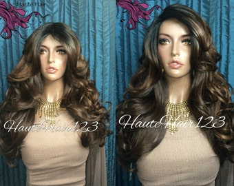 Brown With Aburburn Highlights Human Hair Blend Ombre Body Wave Realistic Lace Front Wig