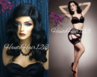 Vintage Pinup Retro Burlesque Dita Von Teese Black Finger Wave Human Hair Blend Lace Front Wig