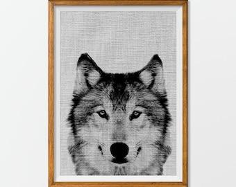 Wolf Fine Art Print, Wolf Poster Printable, Wolf Art Print Black and White,Nursery Decor, Nursery Printable