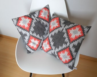 Ethnic motifs in grey and Red Cushion cover