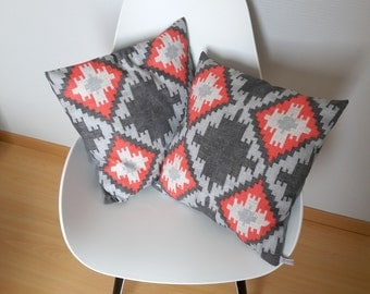 Pillow cover ethnic and geometric in gray and Red patterned