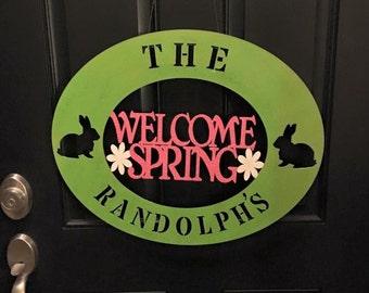 Spring wood door sign