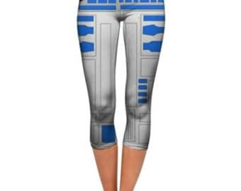 R2D2 bodycon leggings, star wars leggings, cosplay leggings, capri leggings, ankle length leggings.
