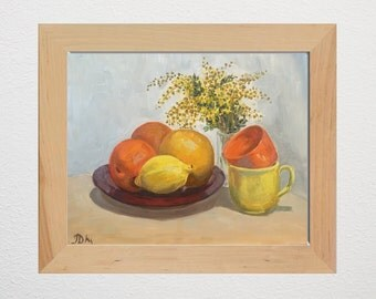 Citrus mood with oranges & lemons - floral wall art - home decor - original oil painting - 40x50 cm (15.7x19.7 inches)