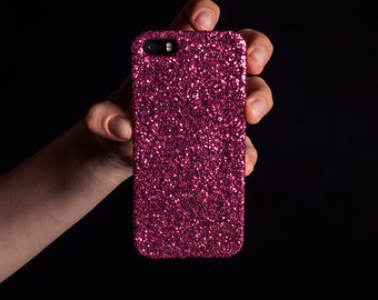 Glitter iPhone Case for iPhone 4/4S, 5/5S, SE, 6/6S & 6/6S Plus - Raspberry