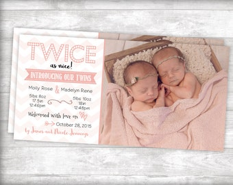 Twice as nice Twins Birth Announcement Printable