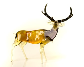 Glass Deer Figurine Collectible Realistic Wild Animal Statuette Moose Sculpture Art Glass Elk Figurine