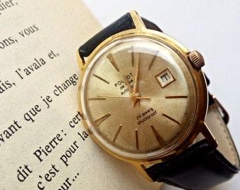 Vintage Soveit watch, gent's watch, Poljot de Luxe USSR Men's Watch Poljot  1960-70's, leather mens watch, ussr mens watch, mechanical watch