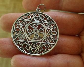 Vajrayogini Mandala Handmade pendant. Tibetan Tantric Buddhist pendant. Tibetan Buddhism. Tibetan Jewelry. Dakini Khandro Sacred Mandala.