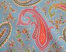 cotton fabric paisley Pashmina sky blue colourful Patchwork Quilt from France