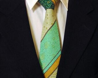 Necktie, Tie, Asian Necktie, Asian Tie, Green Necktie, Green Tie, Stripe Necktie, Stripe Tie, Cotton Necktie, Cotton Tie, Mens Necktie