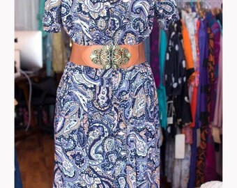 Vintage dress 80s-cotton-80 years Dress new with tag, paisley