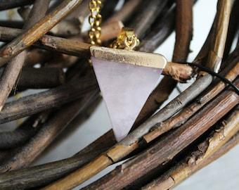 Pendant Necklace with gemstone Rose Quartz pendant