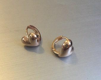 18 K Yellow Gold Filled Heart Hoop Earrings