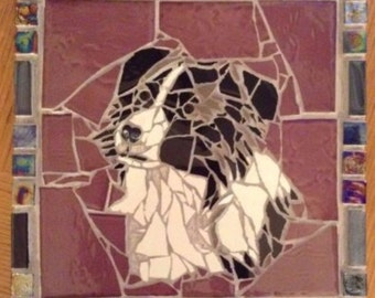 Short Haired Collie Dog Mosaic Art Wall Hanging