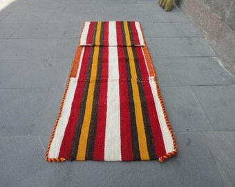 Vintage Turkish saddle bag,decorative rug,52'' x 20'' inches