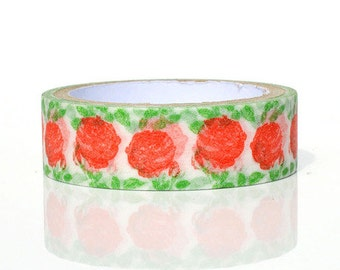 Roses Washi tape 5M Red rose green leaves washi masking tape blossom flower gardening sticker tape rose garden planner sticker gift wrapping