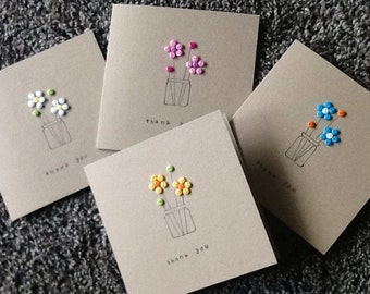 Thank you card (pack of 4) - handmade greetings card- button flowers- kraft card- thanks a bunch