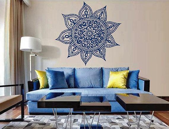 Kik2896 wall decal sticker beautiful mandala living room for Beautiful wall stickers for living room