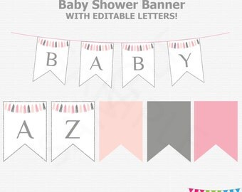 Pink and Silver Baby Shower Banner, Editable Banner Baby Shower, Girl Baby Shower Decor, Printable Decor, Instant Download, Tassels, TASPS