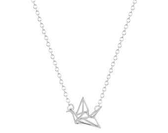 Silver and necklace origami crane