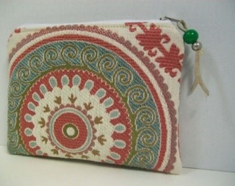 Pouch-Mandala Pouch, make up bag -Zippered Bag7.5x6